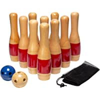 Hey! Play! Lawn Bowling Game/Skittle Ball, Indoor and Outdoor Fun for Toddlers, Kids, Adults, 10 Wooden Pins, 2 Balls, Mesh Bag Set, 11 Inchs