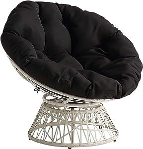 OSP Home Furnishings Wicker Papasan Chair with 360-Degree Swivel, Cream Frame with Black Cushion