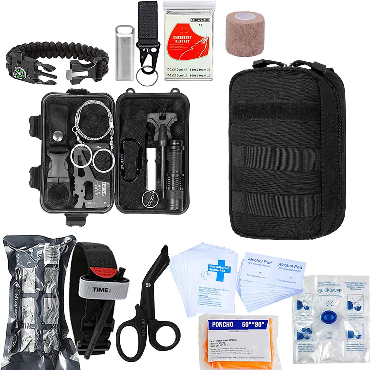 GRULLIN Emergency Survival First Aid Kit, 50 in 1 Multi-Purpose ...