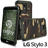 LG Stylo 3 Case, Lg Stylus 3 Case, Celljoy [Shock Armor] Slim Fit Dual Layer Protective ((Shockproof)) Hybrid {Impact Resistant} Bumper Premium - Thin Hard Cover (Camo Green)