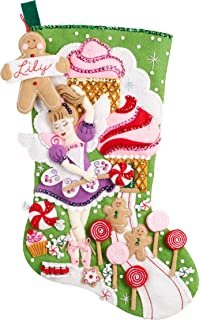 Amazon bucilla 18 inch christmas stocking felt applique kit bucilla 86714 sugarland fairy stocking kit solutioingenieria Images