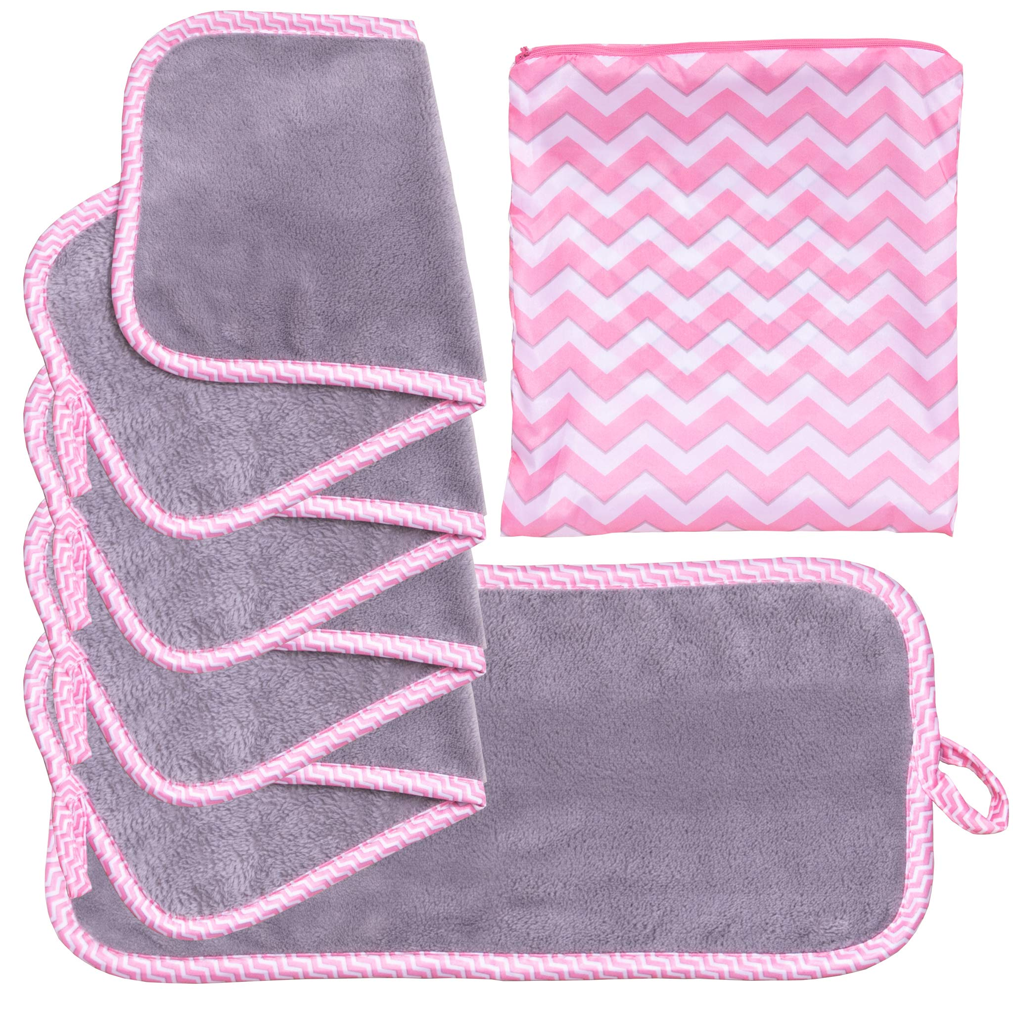 Set Of 5 FreshFace Makeup Remover Cloths by Campanelli (5pc, Chevron) by by CAMPANELLI
