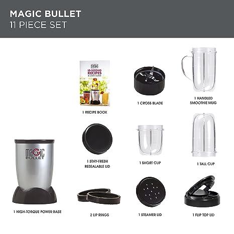 NUTRiBULLET - Batidora mágica (200 W) Juego de 11 piezas Magic Bullet plata: Amazon.es: Hogar