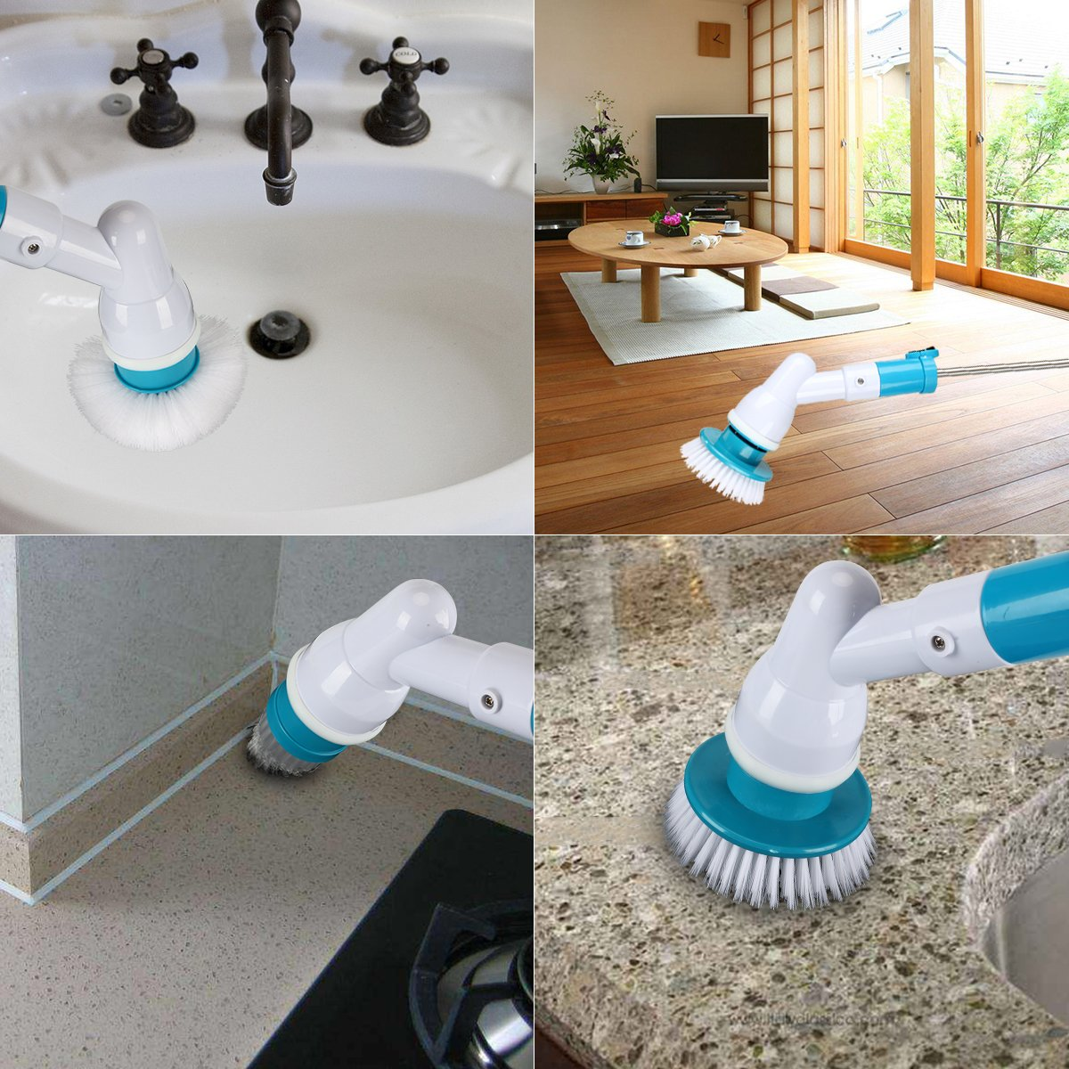 Electric Spin Scrubber 360 Cordless Bathroom Scrubber With 4 Replaceable Cleaning Shower Scrubber Brush Heads Extension Handle For Tub Tile Floor