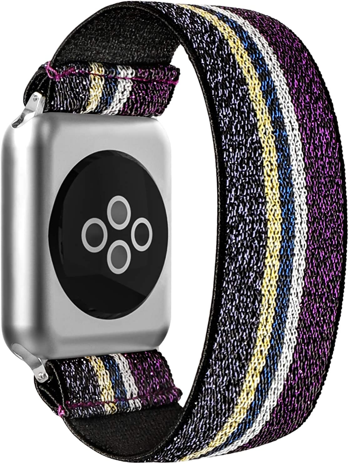 BMBEAR Stretchy Strap Loop Compatible with Apple Watch Band 38mm 40mm iWatch Series 6/5/4/3/2/1 Striped Purple