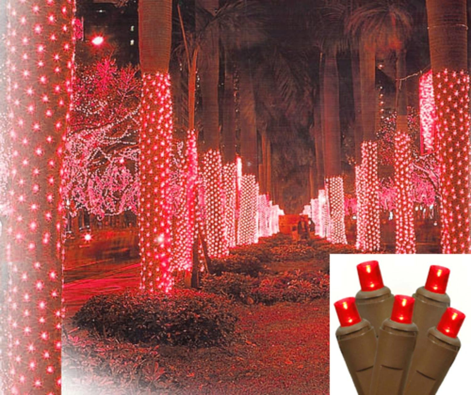 amazoncom 2 x 8 red led net style tree trunk wrap christmas lights brown wire string lights garden outdoor - Brown Wire Christmas Lights