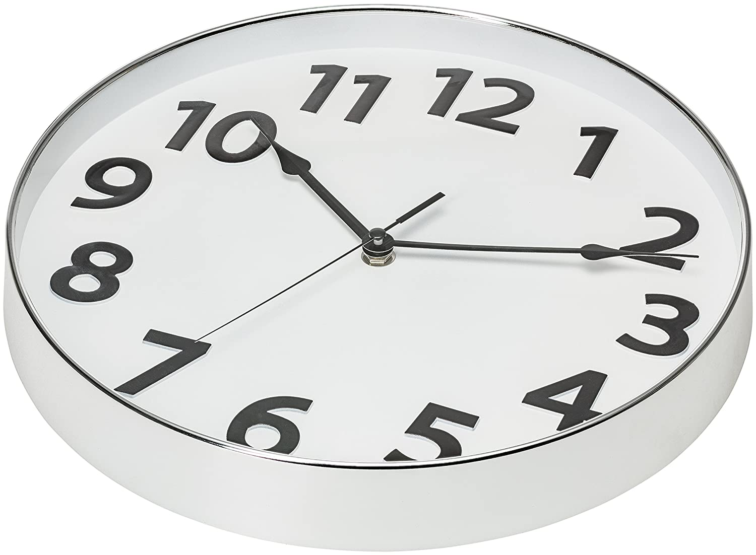 Sweep Movement 04061 12-Inch Silent Non Ticking Quality Quartz Battery Operated Round Home//Office//Classroom Modern Clock Silver Rim 3D Numbers Bernhard Products Large Silver and White Wall Clock