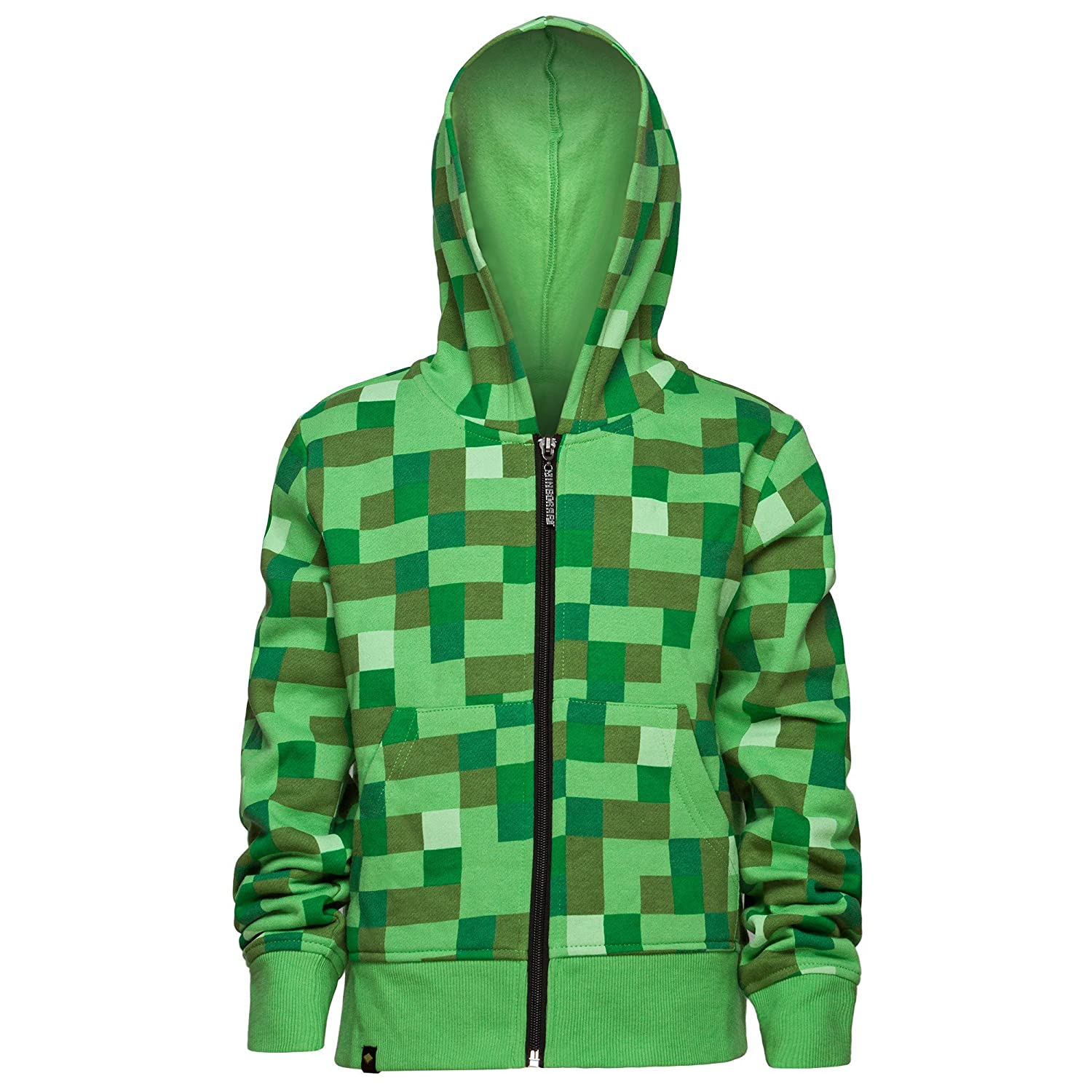 Minecraft Creeper No Face Premium Zip-Up Youth Hoodie (Youth Small, Green) MJMC-04074Y-YS