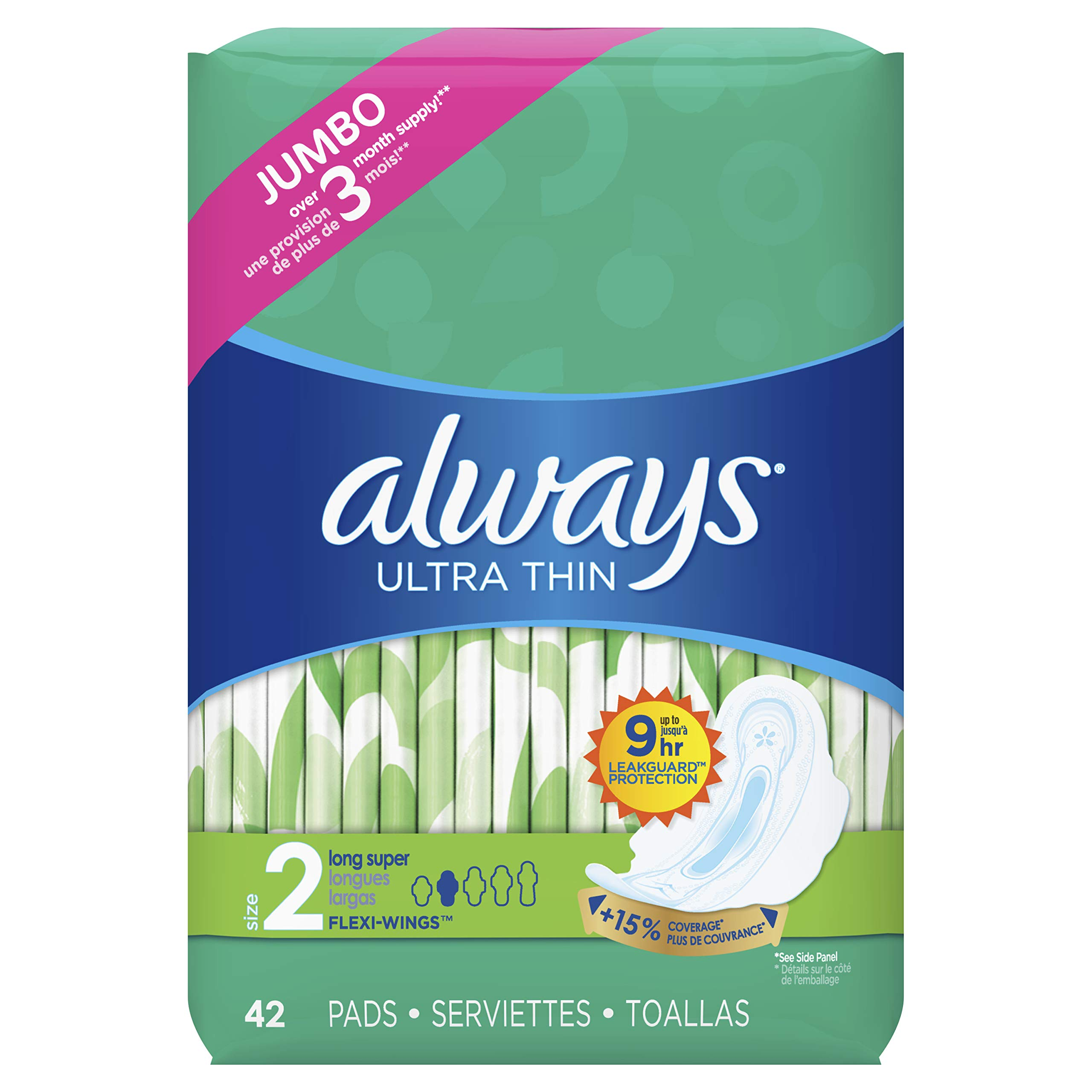 Always Ultra Thin Feminine Pads with Wings for Women, Size 2, Super Absorbency, Unscented, 42 Count - Pack of 3 (126 Count Total) by Always