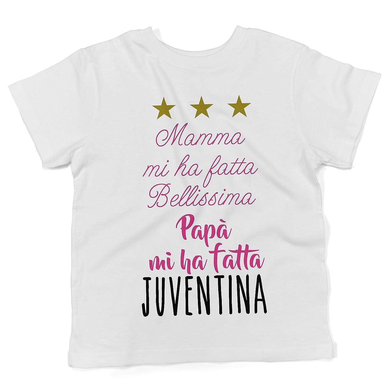 Baby T-shirt a maniche corte Papà mi ha fatta Juventina  - maglietta divertente neonato LaMAGLIERIA BTEE-000103