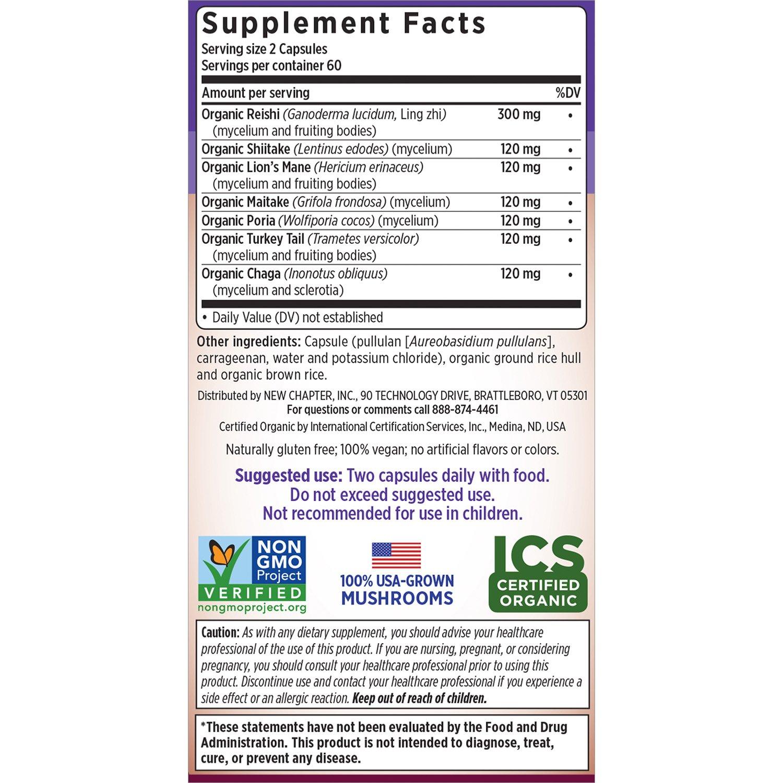 New Chapter Reishi Mushroom – LifeShield Immune Support with Organic Reishi Mushroom Vegan Non-GMO Ingredients – 120 ct