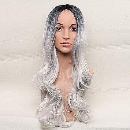 """royalvirgin cuerpo Wave gris Ombre peluca falsa pelo sintético Pelucas Para Las Mujeres Negras 26 """""""