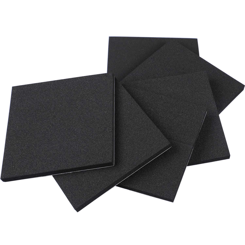 Foam Padding, Self Stick Adhesive Weather Stripping Rubber Sheet Non-Slip Furniture Pads Black Foam Strip 4 Inch Long X 4 Inch Wide X 1/4 Thickness(6Pcs)