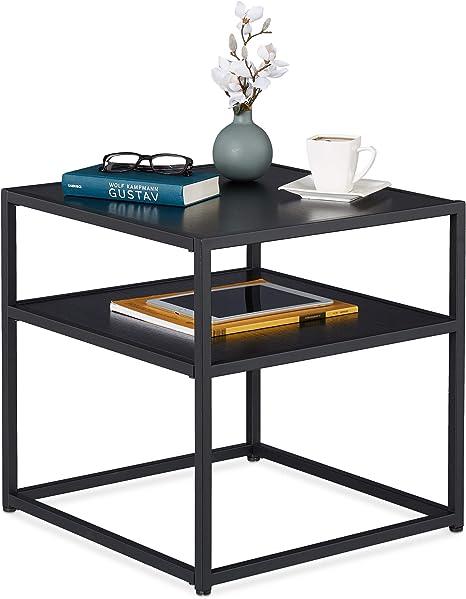 relaxdays side table black square coffee table metal mdf modern design living room 50 x 50 x 50 cm black