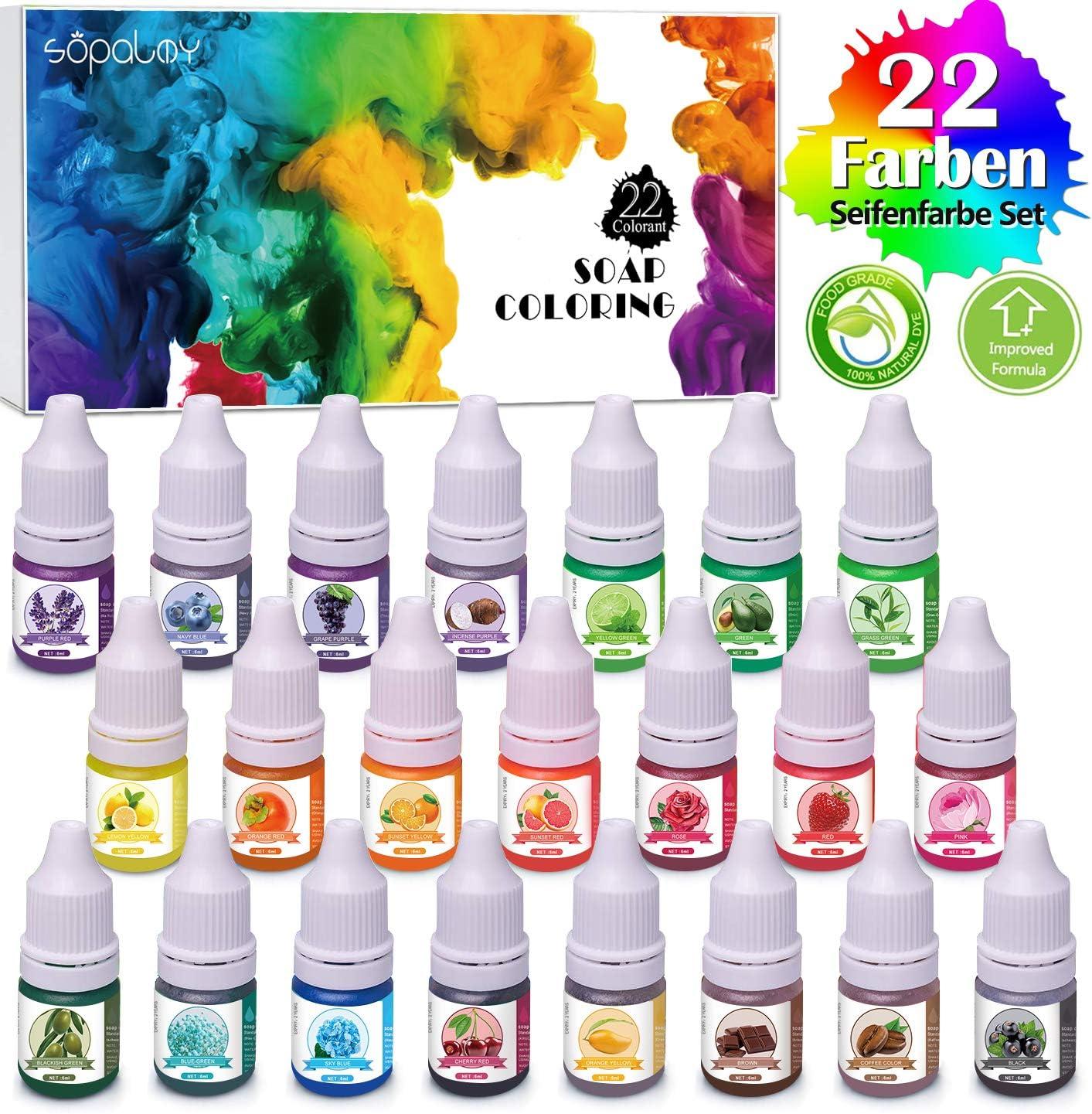 Seifenfarbe Set 20er x 6ml Flüssig Seifenfarben Färbende 20 Colors