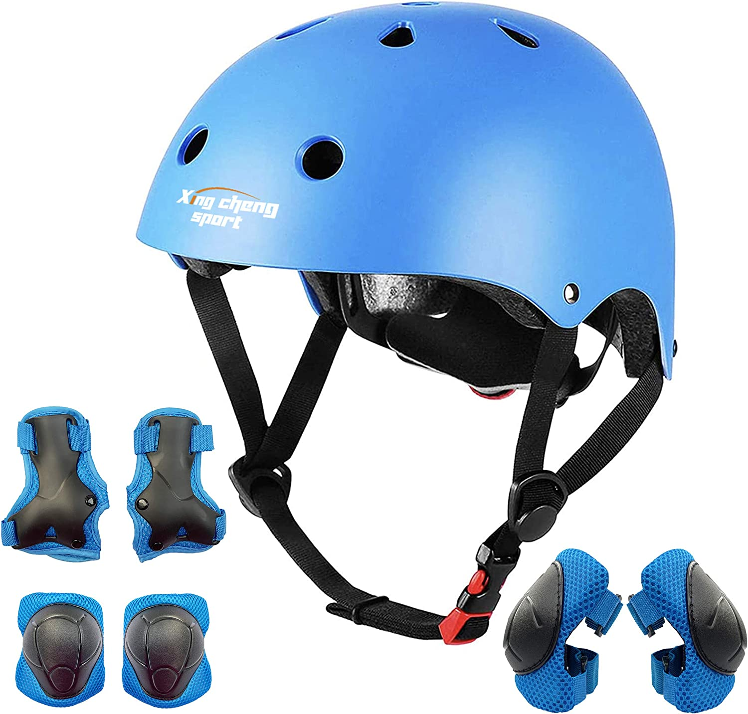 Lucky-M Kids Protective Gear Set Boys Girls Adjustable Size Helmet with Knee Pads Elbow Pads Wrist Guards for Skateboard Cycling Hoverboard Scooter Rollerblading