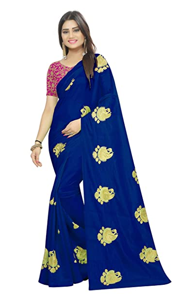 5e1c26aa6e516d SilverStar Women's Embroidery Work Paper Silk Saree with Brocket Work Blouse  Piece (Blue): Amazon.in: Clothing & Accessories