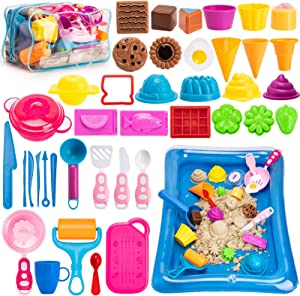 Bikilin's toy Play Sand Kit for Kids, 44Pcs Food Sand Molds Tools Set, 3lbs Magic Sand, Sand Tray and Storage Bag, Cookware Sandbox Toys for Toddler Kids Boys Girls Gifts Cooking Beach Bath Toys