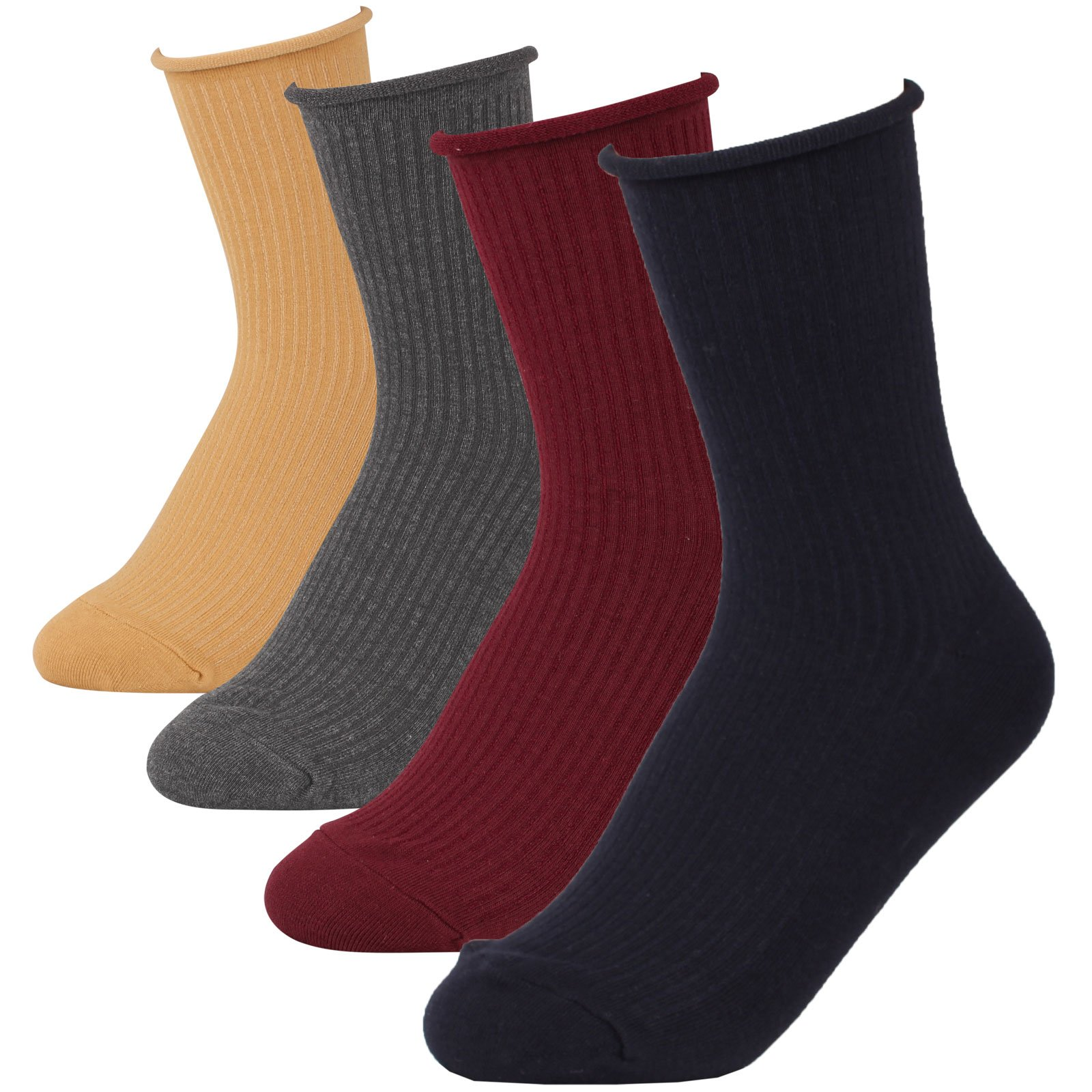 Women's Roll-Top Ankle High Soft Cotton Socks Lady Full Fashioned Girl Hosiery (D-2 Soft Ribbed Color-4pairs)
