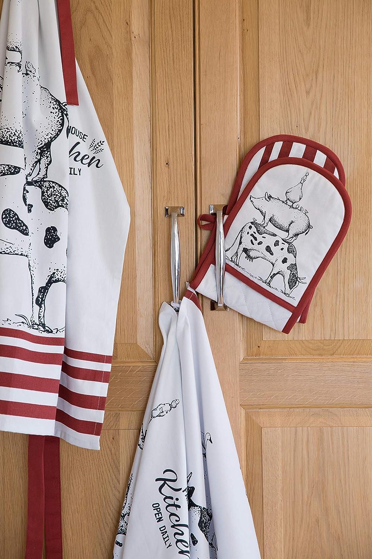 Kitchen Craft Gants de Cuisine Double 100/% Coton Blanc//Rouge 87 x 18 cm