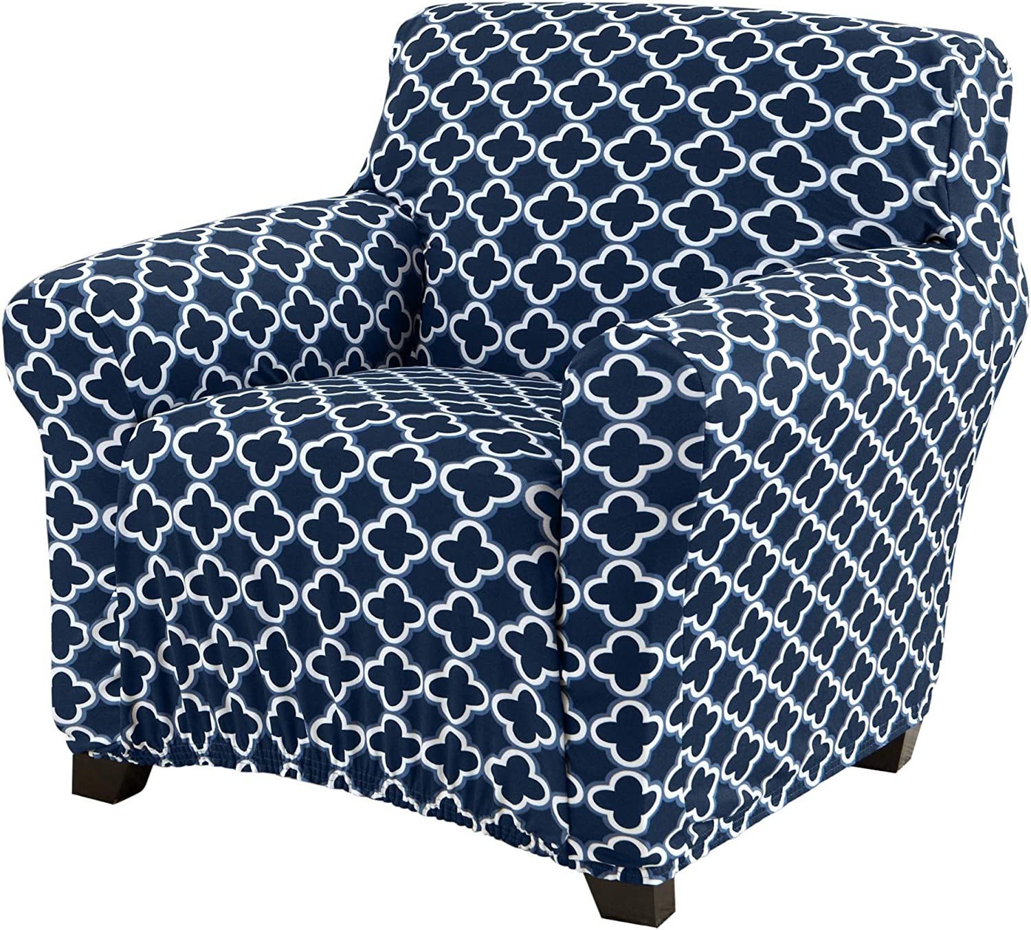 Printed Twill Arm Chair Slipcover. One Piece Stretch Chair Cover. Strapless Arm Chair Cover for Living Room. Fallon Collection Slipcover. (Chair, Navy)