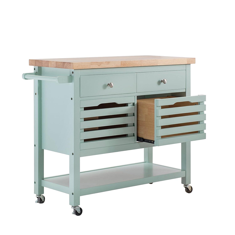 Amazon.com: SJ Collection New Jaden Kitchen Cart-Aqua: Kitchen & Dining