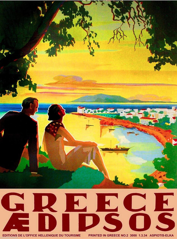 Poster Mural en m/étal Vintage publicit/é de Voyage ABLERTRADE Gr/èce Grecque Aedipsos Europe Plaque en m/étal de 20,3 x 30,5 cm