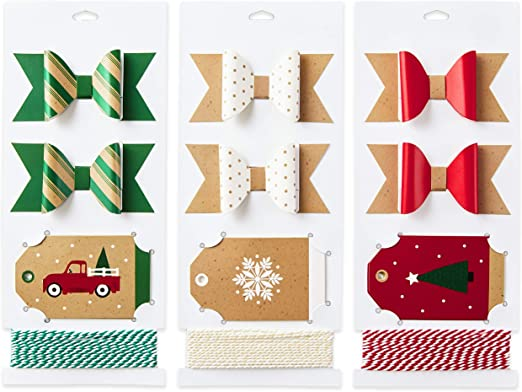 Amazon Com Hallmark Holiday Gift Wrap Accessory Kit Red Truck Tree Snowflake 6 Gift Bows 12 Gift Tags 9 Yards Of Twine Kraft Red Green White Kitchen Dining
