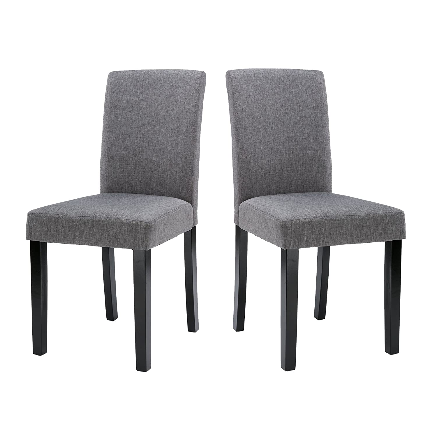 Amazon.com   LSSBOUGHT Set Of 2 Urban Style Fabric Dining Chairs With Solid  Wood Legs(Grey)   Chairs