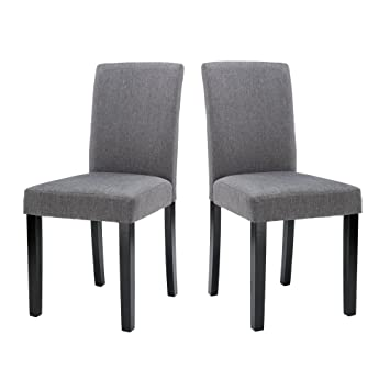 Amazon.com - LSSBOUGHT Set of 2 Classic Fabric Dining Chairs Dining ...
