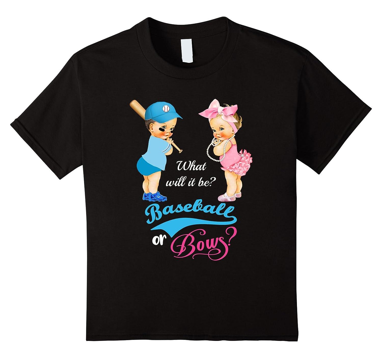 Womens Baseball Bows Gender T Shirt-Awarplus