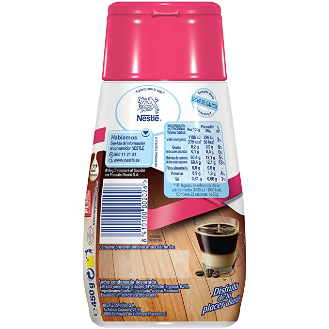 Nestlé La Lechera Leche condensada desnatada - Botella de leche condensada desnatada Sirve Fácil - Caja de 12 x 450 g: Amazon.es: Alimentación y bebidas