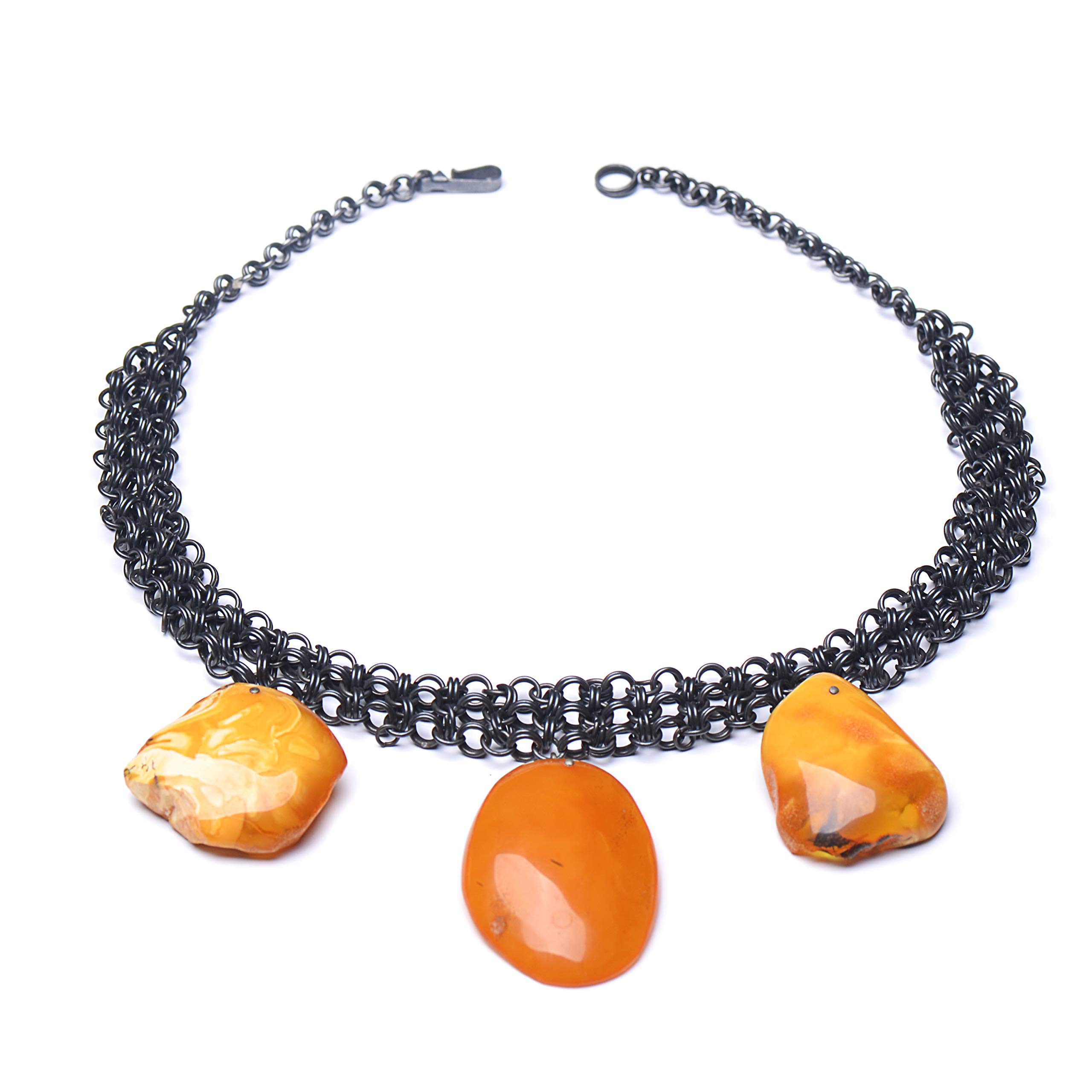 Necklace with Amber Pendants - Amber Stones - Baltic Amber Necklace - Amber Jewelry for Woman by Genuine Amber