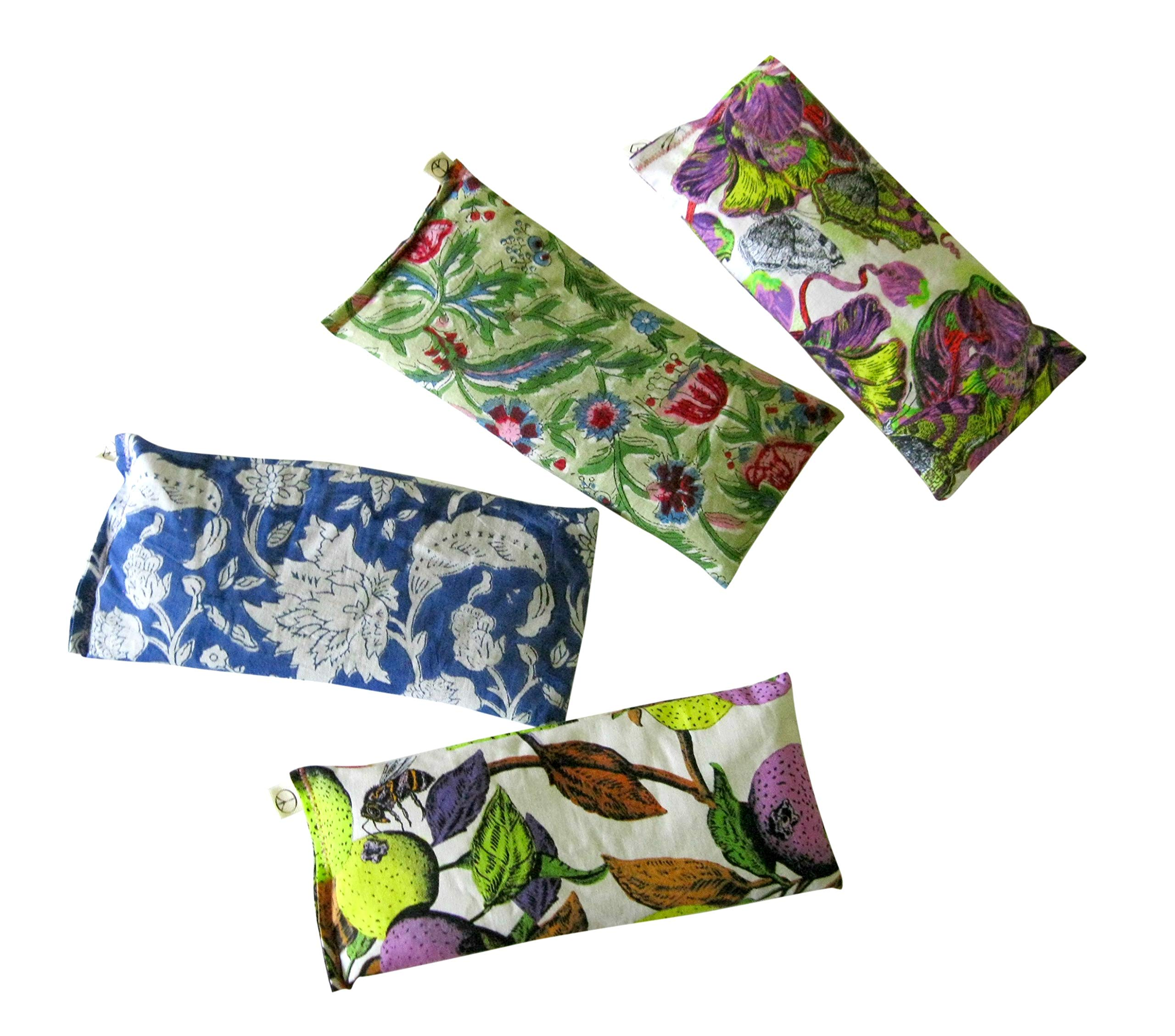 Scented Eye Pillows - Pack of (4) - Soft Cotton 4 x 8.5 - Lavender Flax Seed - Relax Soothe - yoga - tropical flowers palm leaves blue green pink fruit bird by Peacegoods