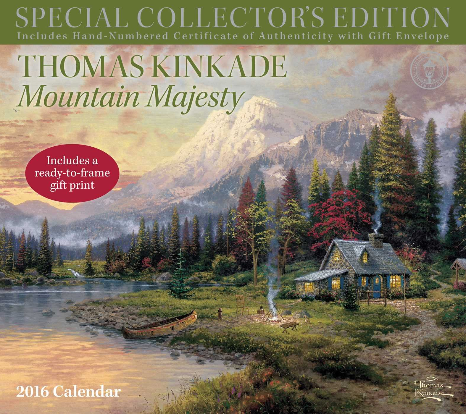 thomas kinkade special collectors edition with scripture 2016 deluxe wall calen mountain majesty