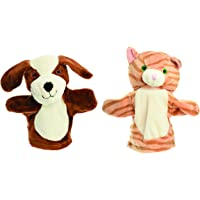 Beautiful Dog and Cat Hand Puppet Set, Baby and Child Friendly