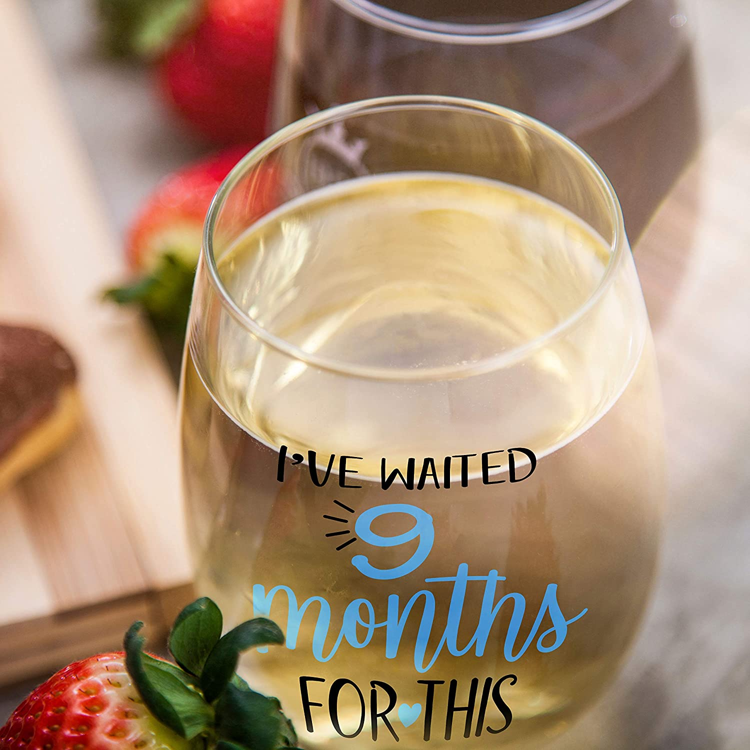 Expectant Mothers Ive Waited 9 Months for This Mothers Day Wine Glass 15oz Birthday Newborns Blue | Funny Personalized Novelty Stemless Glass Gifts for Expecting Boy Mom Pregnant Women