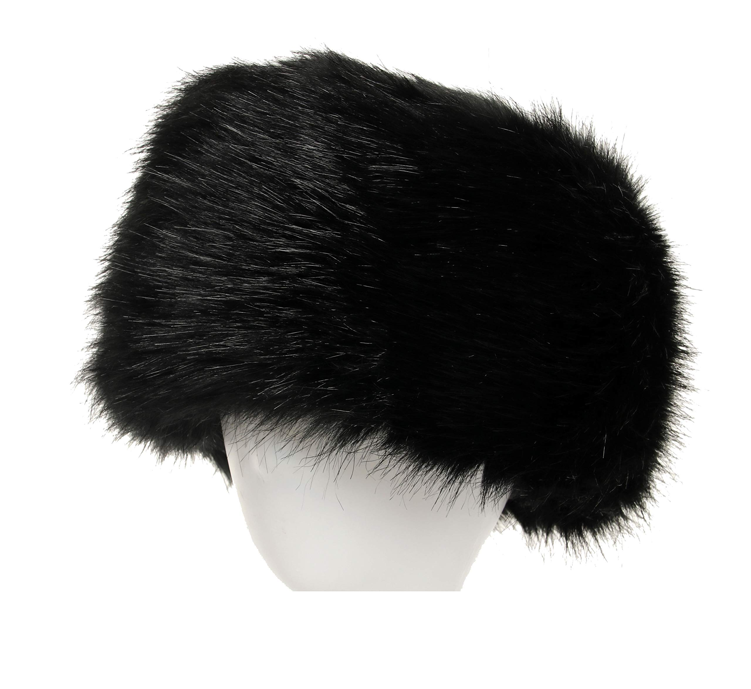 La Carrie Women's Faux Fur Hat for Winter with Stretch Cossack Russion Style White Warm Cap(Black)