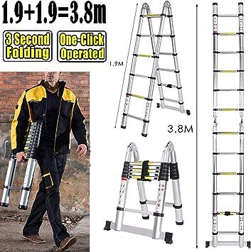 5 m Escalera telescópica extensible Escalera escalera de aluminio extensible Escalera de aluminio telescópica (de alta calidad aluminio telescópico de diseño Soporta hasta 150 kg): Amazon.es: Bricolaje y herramientas