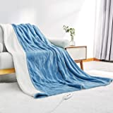 """Electric Heated Blanket Twin Size 62""""x 84"""" Flannel & Shu Velveteen Reversible, Fast Heating and for Full Body Warming with 10"""