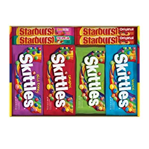 SKITTLES & STARBURST Full Size Variety Mix for Christmas Candy Gifts & Stocking Stuffers, 30 Count