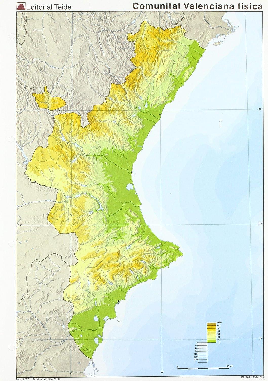 Mapa Fisico Comunitat Valenciana.Mm Comunidad Valenciana Fisico Color Vv Aa Vv Aa Amazon Es Oficina Y Papeleria