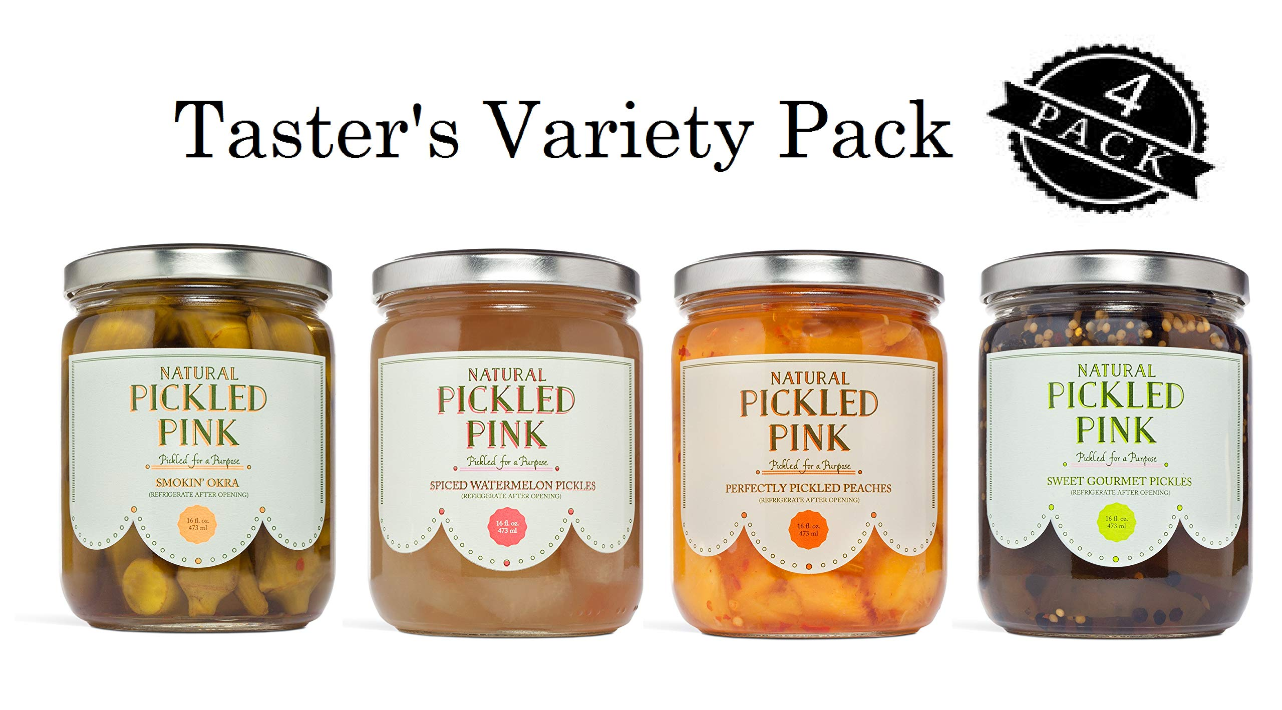 Pickled Pink Taster's Variety Pack - Sweet Gourmet Pickles, Perfectly Pickled Peaches, Spiced Watermelon Pickles, Smokin' Okra (16 oz Jar x 4); Gourmet Artisan-Crafted and All-Natural by Pickled Pink