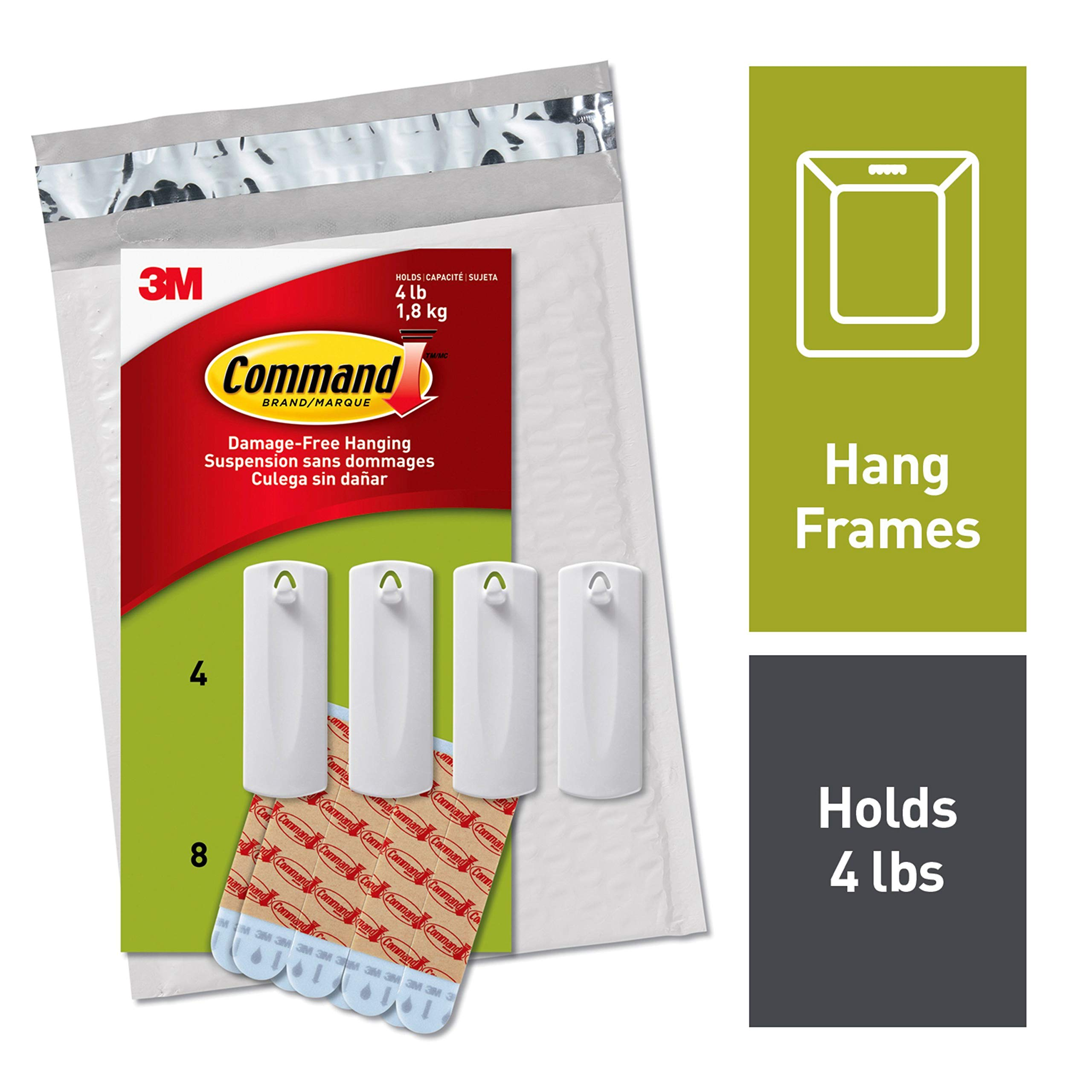 Command Sawtooth Picture Hangers, White, 4-Hangers (PH040-4NA) - Easy to Open Packaging