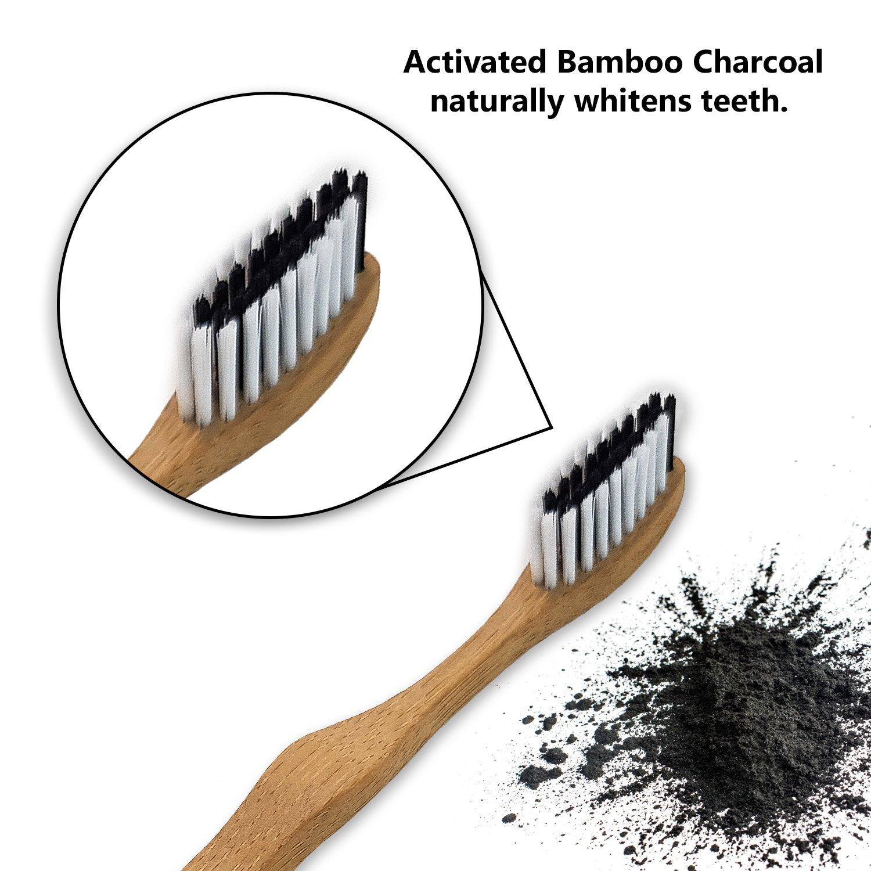 Cepillo de dientes de bambú | Cerdas medium| Cepillo de dientes ecológico | Blanqueador dental | Cepillo de dientes blanqueador | Carbón activado | Mango ...