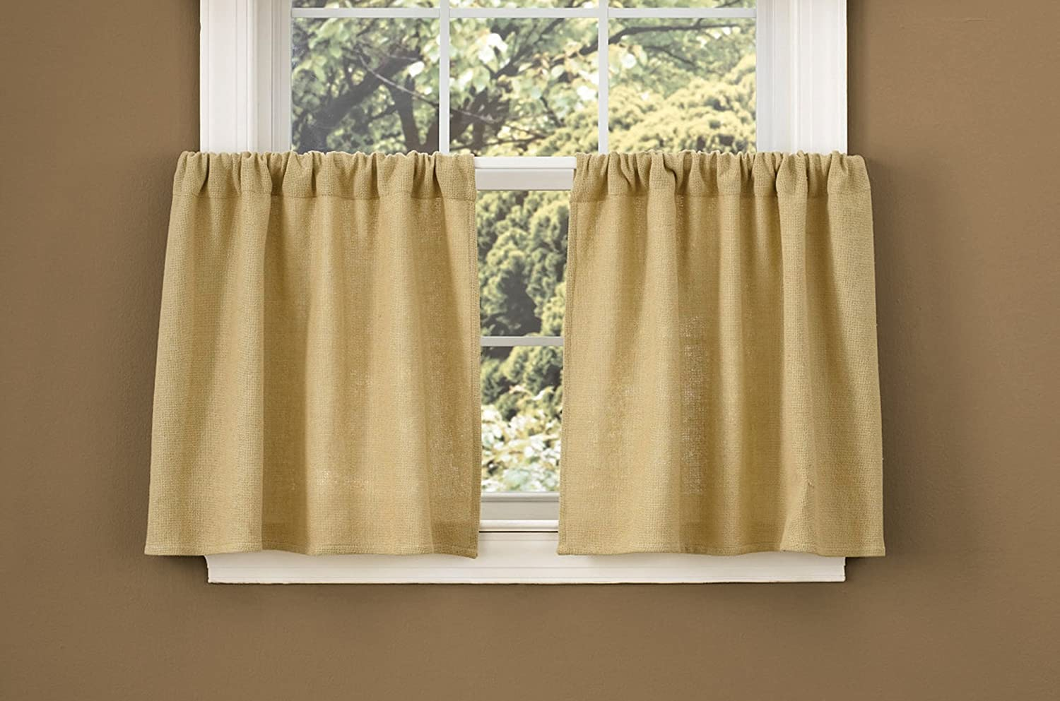 Burlap window treatments - Amazon Com Park Designs Burlap Window Treatment Tier 72 X 24 Home Kitchen