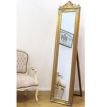 Elizabeth Vintage Freistehender Spiegel Im Rokoko Schlafzimmer 44 Cm X 180  Cm Schwarz Creme Gold Silber