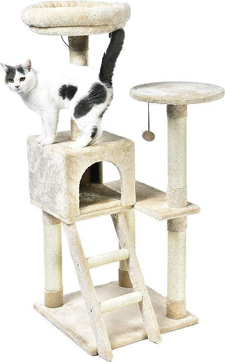 AmazonBasics - Árbol para gatos extragrande con cueva y escalera, 48,3x127x48,3 cm, beige: Amazon.es: Productos para mascotas