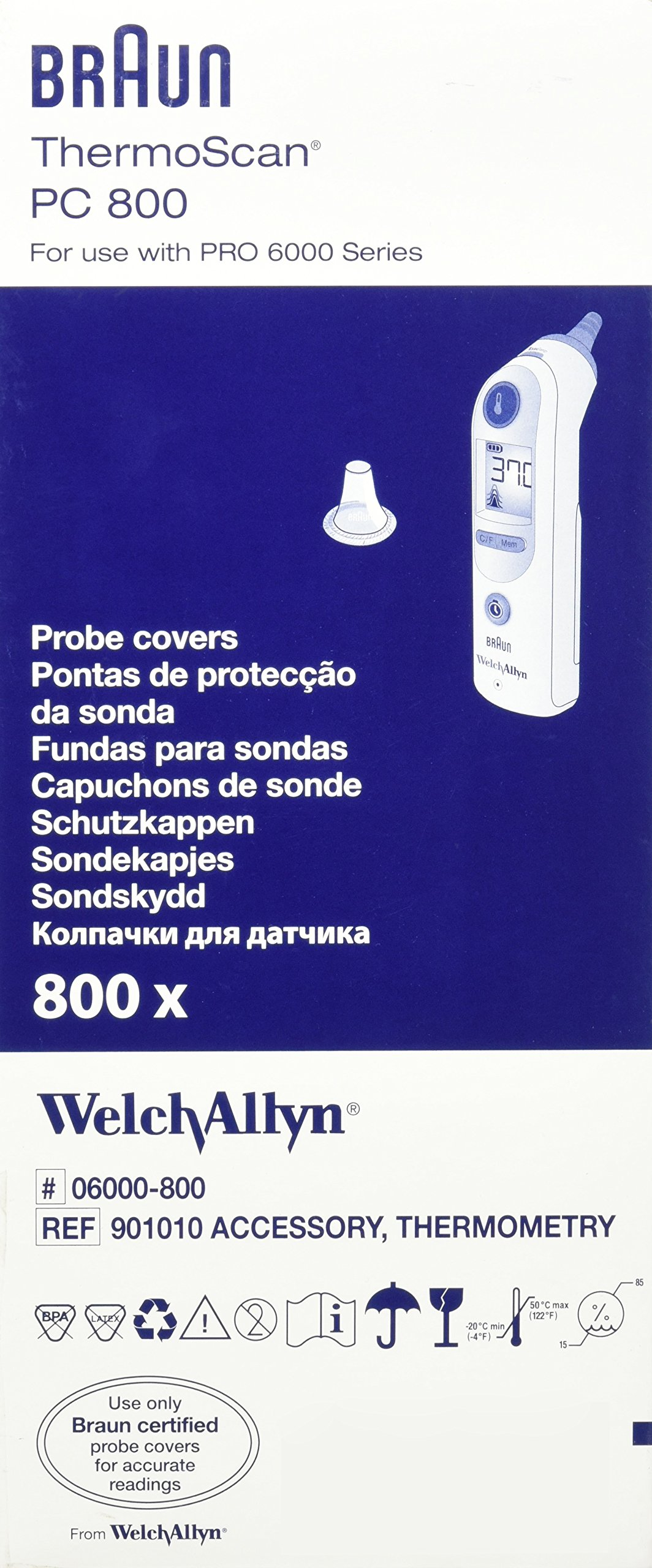 Welch Allyn Braun Thermoscan PRO 6000 Ear Thermometer Probe Covers 800/BX