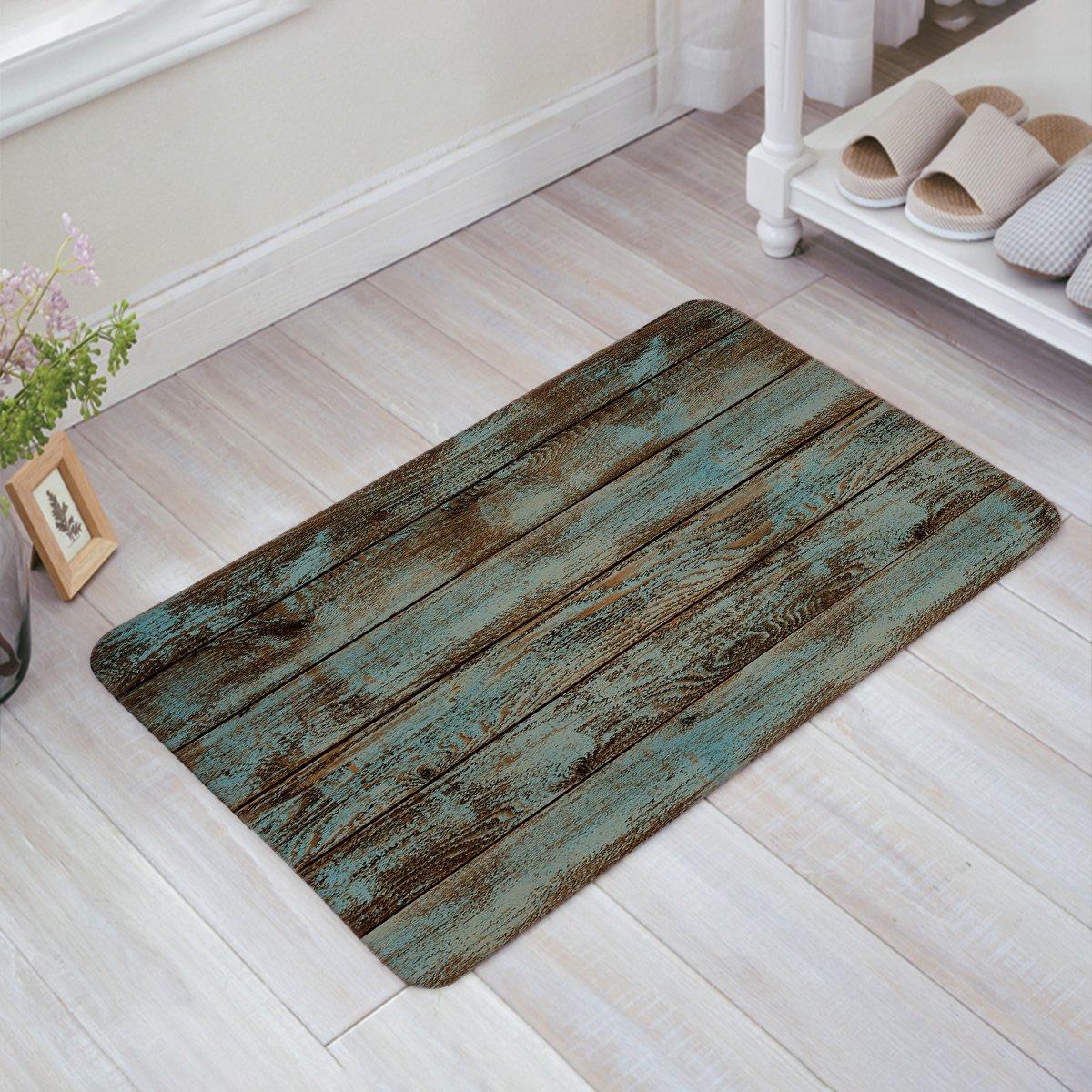 Infinidesign Doormat Entrance Mat Floor Rug Kitchen/Front Door/Bathroom Mats Rustic Old Barn Wood Pattern 23.6''x 15.7''